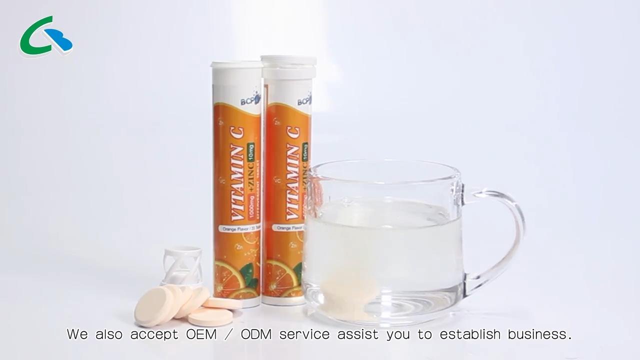 Orange geschmack Vitamin C + Zinc brause tabletten für immun körper system