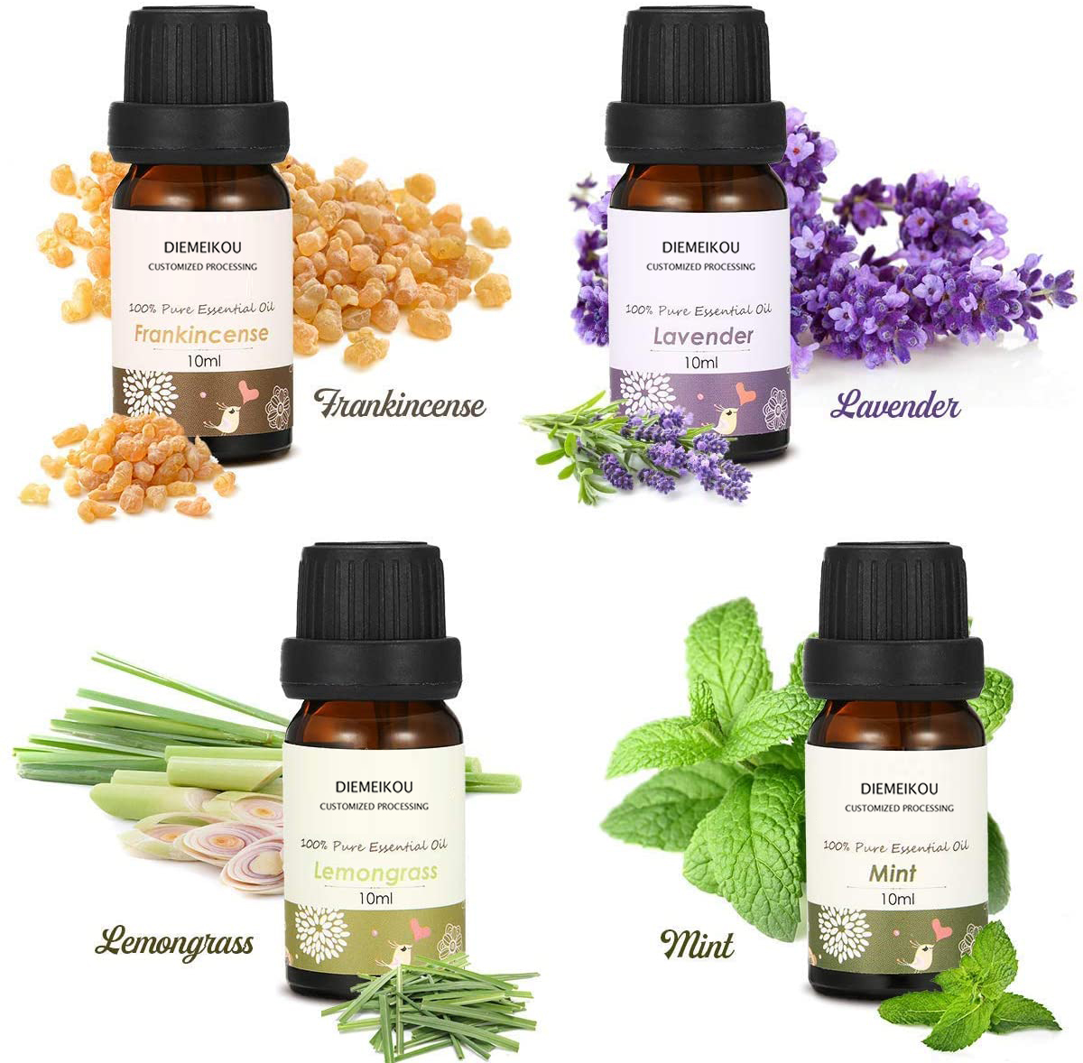 Wholesale 8x10ML Essential Oils Set,100% Pure Essential Oils Gift Kit Top 8 Aromatherapy Oils Gift Set, Lavender/Rosemary