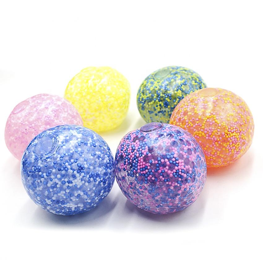 Суперзвезда 7 см пенопластовые бусинки Сжимаемый мячик для снятия стресса мягкие яркие цветные бусинки виноградный шарик TPR Капсульная игрушка 619050905