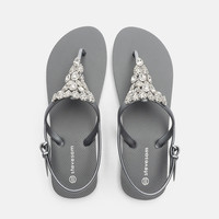 Fashion Women Diamond Trim High Quality Girls Flat Ladies Sandals