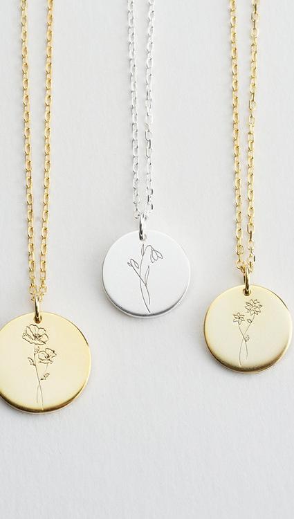 Женщины на заказ выгравированы 925 стерлингового серебра круглой формы диска кулон ожерелье