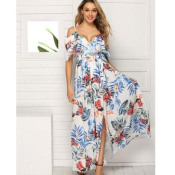 Fashion party female straight dress lady clothes floral printed chiffon dresses Lowest Price