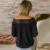 New Style Women Black Lace Detail Long Sleeve Off Shoulder Blouse