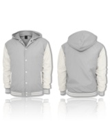 custom varsity jackets gray color wool body and leather sleeves