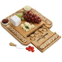 FDA, FSC High quality hot sale Bamboo cheese cutting board for kitchen with cutlery set