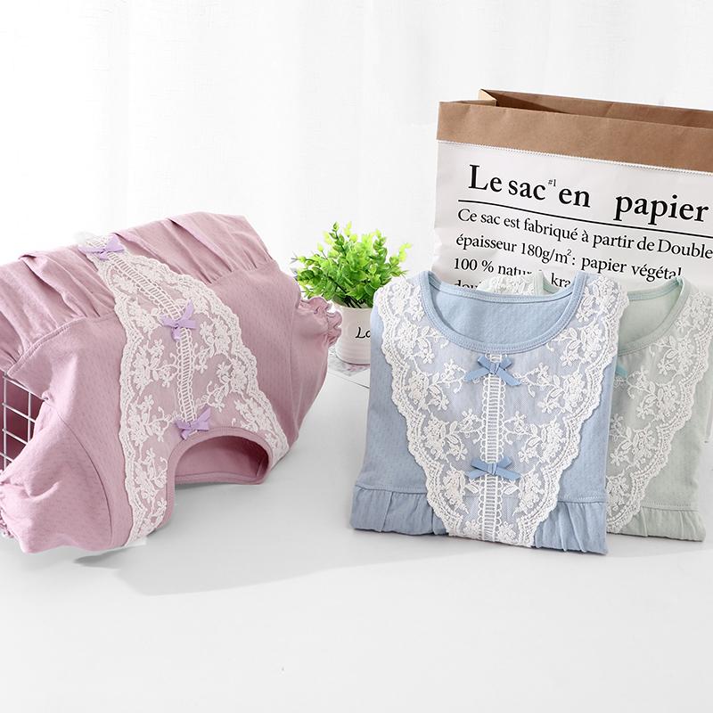 2020 hot sale summer girl pajamas 100% cotton short sleeve nightdress lovely girl lace sleeping dress