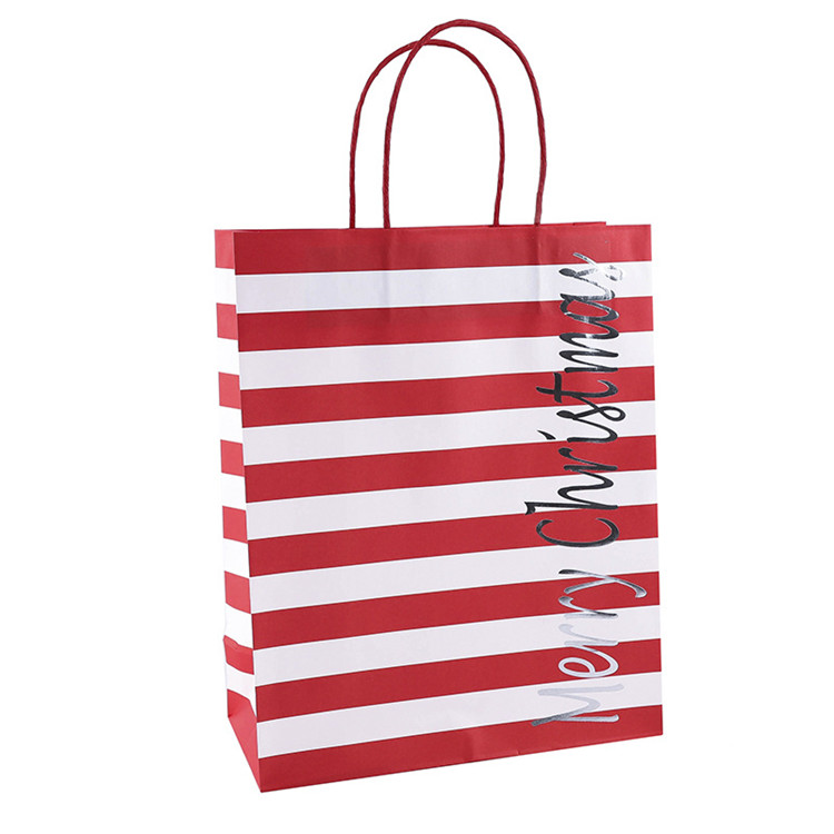 Custom Christmas Brown Craft  Paper Shopping Bag