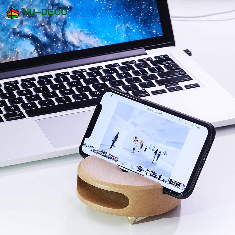 Funny multifunctional round novelty portable bamboo sound amplifier desk mobile cell smart phone holder for home desk