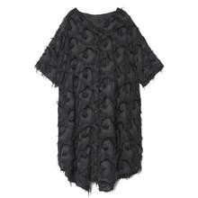 Женское платье EAM, черное свободное платье большого размера с треугольным вырезом и рукавом три четверти, на весну, лето, 2020(Китай)