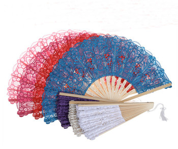 European style bamboo lace folding hand held fan