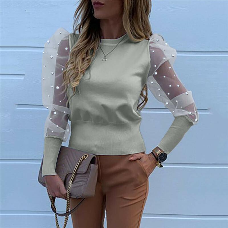 Moda 2020 kobiet O Neck bluzki Mesh Tulle koszule z falbanką  rO4g4