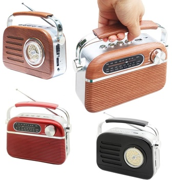 High quality retro rechargeable am fm sw portable radio wooden radio