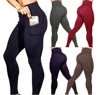 Amazon Hot Sell High Waisted Sport Fitness Yoga Pants For Women Gym Leggings with Pocket