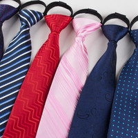 Convenient zipper tie and fashion striped yarn-dyed checkered jacquard polyester made men's necktie tie