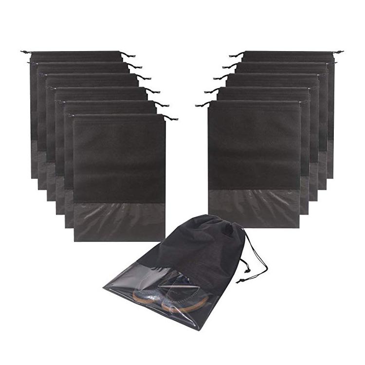 Дешевые водонепроницаемый прозрачный окно нетканые шнурок мешок обуви для хранения