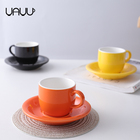 Exquisite household used glossy glaze promotional wholesale tea ceramic cups and saucers for gift