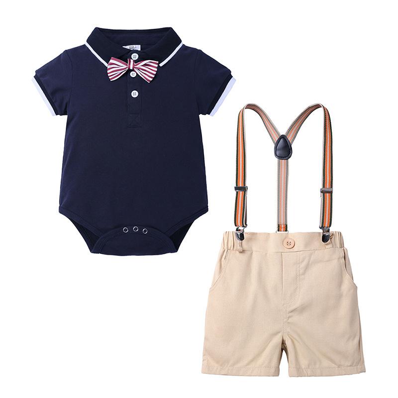 Latest design casual wholesale gentlemen summer short sleeve cotton children toddler infant newborn clothing for babies