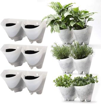 2 pocket White Terracotta Plastic Flower Pots Living Garden Vertical Planters for Wall