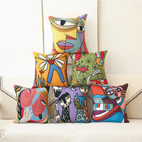 Low Price Embroidered Cushions Covers Embroidery Picasso Abstract Paintings Cushion Cover Throw Decorative Pillows Case