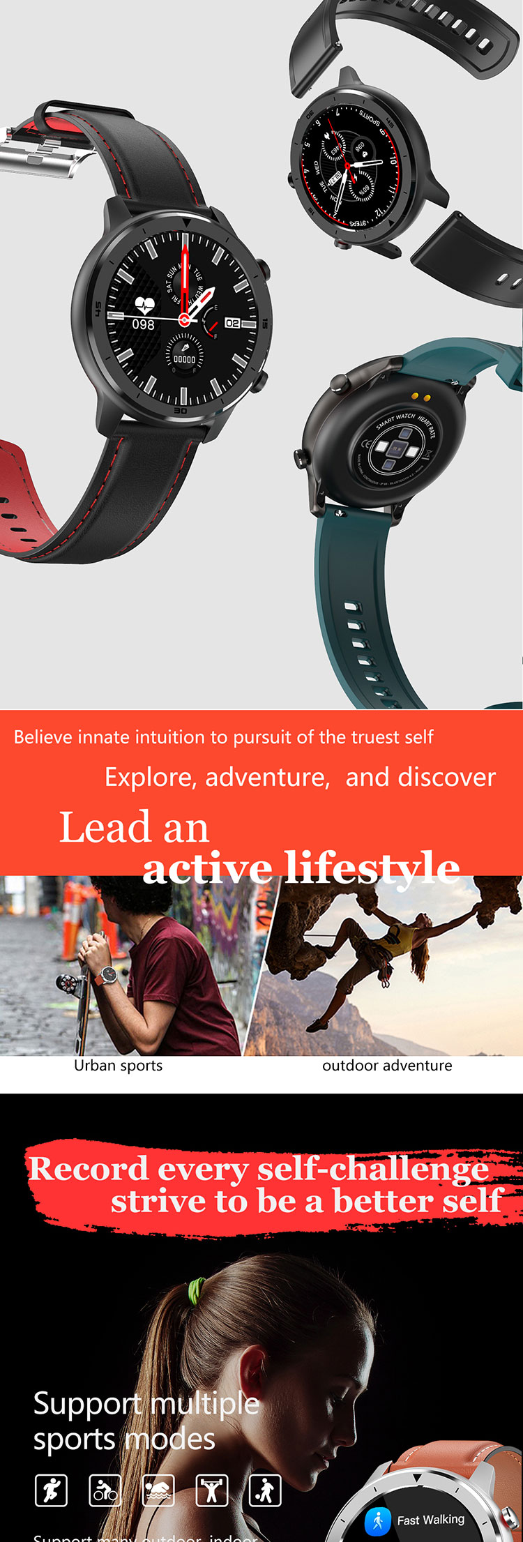 2020 IP68 Waterproof Smartwatch Full Touch Wearfit Heart Rate Monitor Round Fitness Sport Smart Watch DT78 with Multiple Strap