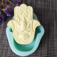 Wholesale Price HAMSA Hand of Fatima Lotus in the Palm Mascot Khamsah Silicone Soap Mold for Soap Candle Making