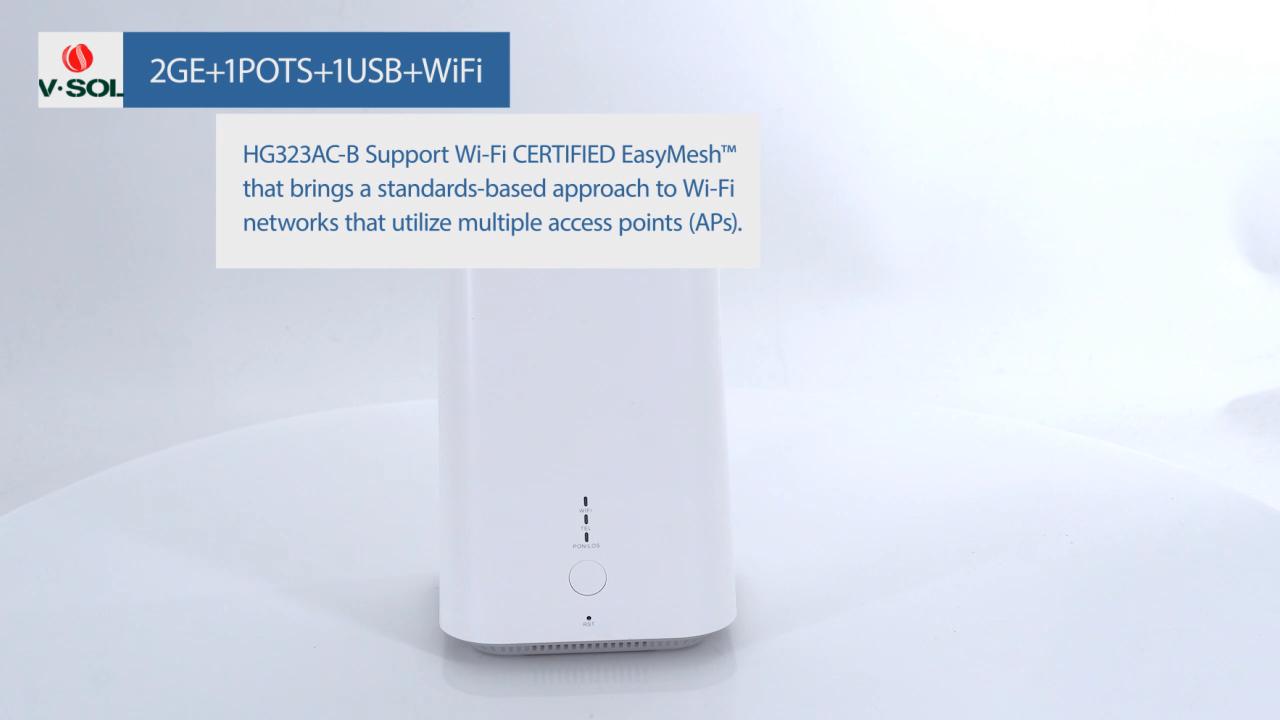 VSOL Router HGU XPON Epon ONU, 2GE + 1Pot + 1USB + WiFi