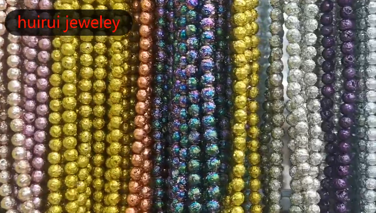 En gros Top grade naturel pierres précieuses perles rondes 6mm 8/10mmMetallic Lave Pierre De Roche-Oxydé Argent-couleur or Pierre De Lave