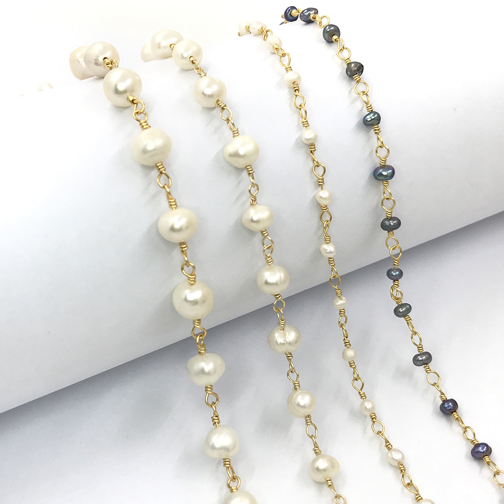 4mm,6mm,8mm Freshwater Pearl Bead Chain for DIY Rosary Necklace Hand Made