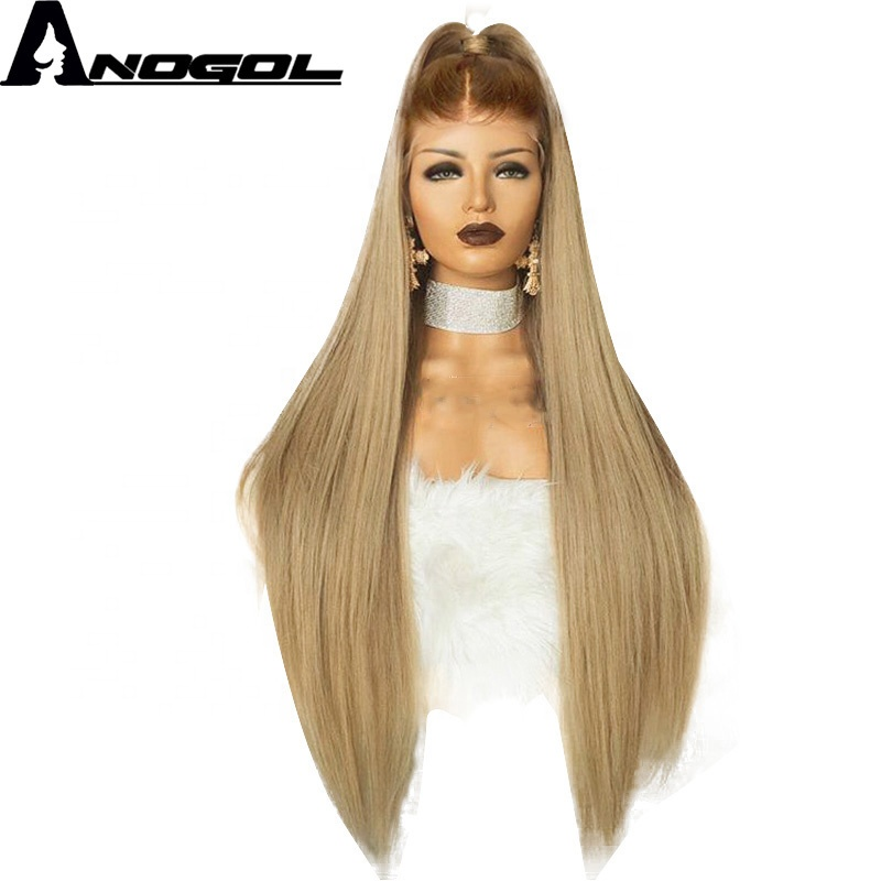 Anogol Brown Ombre Blonde Frontal <strong>Lace</strong> <strong>Wig</strong> High Temperature Fiber Long Straight <strong>Full</strong> Hair <strong>Wigs</strong> <strong>Synthetic</strong> <strong>Wig</strong> For Women