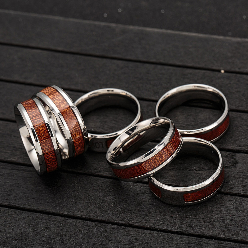 Fashion Men's Jewelry 8MM Stainless Steel Material Central Groove Designs Popular Rings For Boy Men
