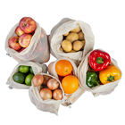 Hot Sale Eco Friendly Reusable 100% Organic Cotton Mesh Bag Shopping Grocery Mesh Net Bags For Vegetables and Fruits