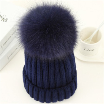 SF0565 Thick Warm Winter Hat Slouch Wholesale Real Fur Pom Poms Wool Hat Women Custom Beanie Hat