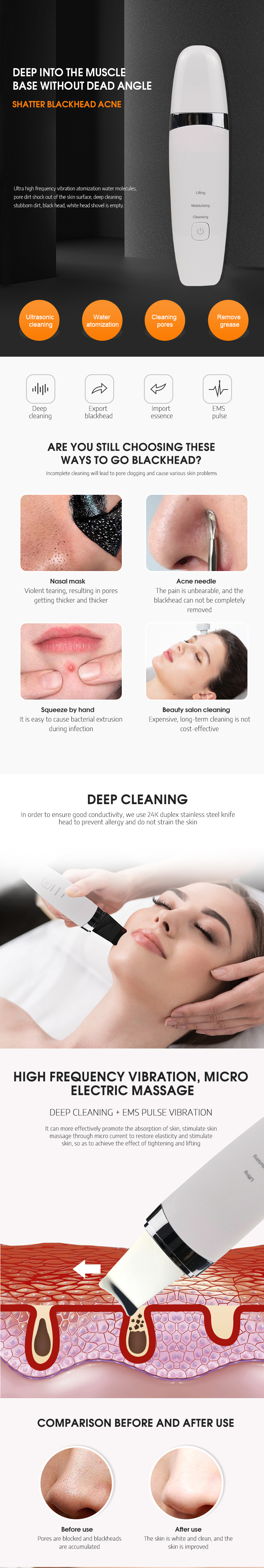 Portable sonic facial scrubber spatula face massager led machine vapor ultrasonic skin scrubber