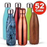 500ml Electroplating Wood Pattern Flask Water Bottle Stainless Steel Vacuum Insulated Coke Shaped SS Popular Water Bottle Logo