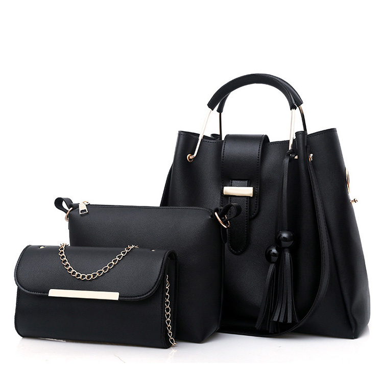 Sac A Main Femme 3 Pieces PU Leather Tote Bag For Women Luxury Tassel Hand Bag Set
