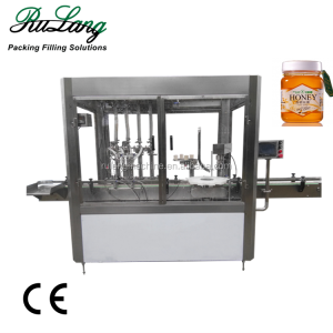 Automatic servo motor 4 nozzles paste filling machine thick liquid filler capper labeler bottle packaging machine
