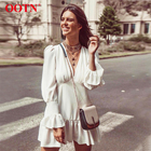 OOTN Ladies V Neck Ruffle Dress Long Sleeve High Waist Spring Summer Women A-Line Mini Dresses Casual Flare Sleeve White Dress