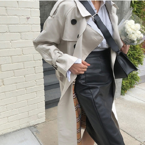 Fall 2019 Long Double-breasted Loose Coat Windproof Lapel Collar Korean Style Women Clothes Classic Trench Female Long With Belt