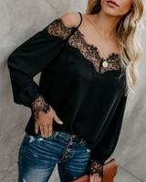 Plus Size Women Fall Apparel 2019 Fashion Off Shoulder Blouse Lace Patchwork Long Sleeve Ladies Chiffon Tops