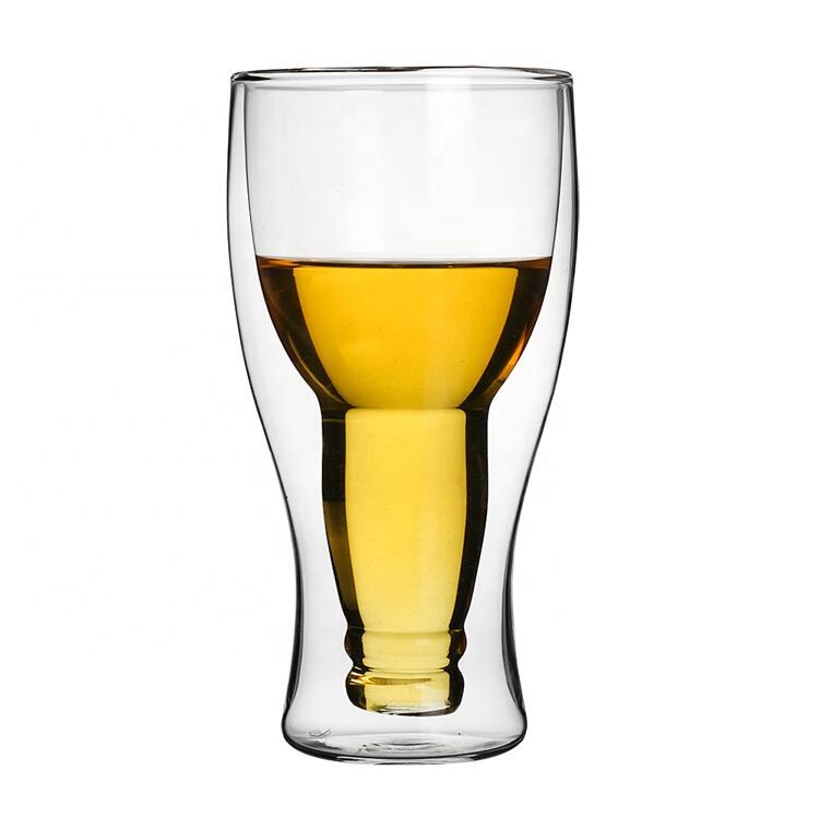Borosilicate <strong>Glass</strong> Handmade Hopside Down Double Walled Long neck Beer <strong>Glass</strong>