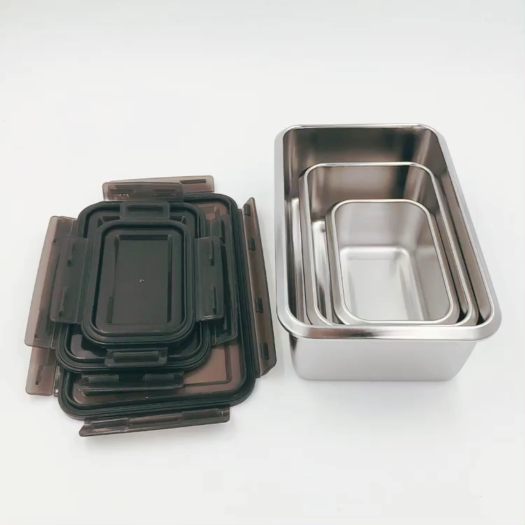 Custom LOGO Leakproof 3 Pcs Stainless Steel 304 Bento Lunch Box Food Container Snack Storage Box stainless steel lunch box