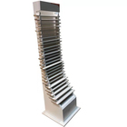 Graceful lines designed MDF Multi Layers Hierarchical wood sample flooing display rack for Retail Store