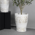 Gold Pot High Quality Delicate White Stripe Relief Gold Floral Print Home Decoration Indoor Glazed Ceramic Plant Pot