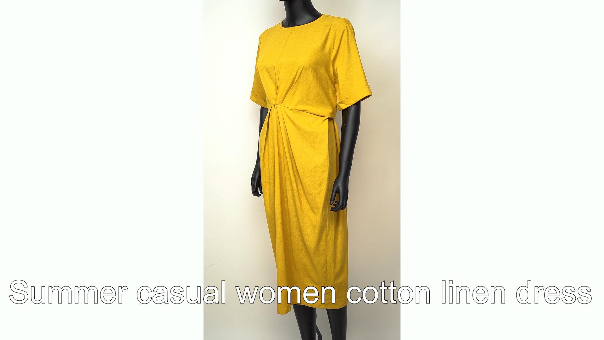 Fashion vintage wanita musim panas wanita putih linen gaun kasual