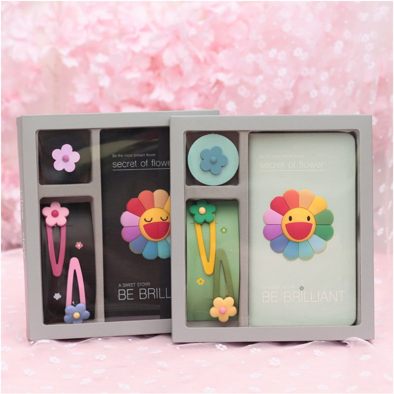 Korean INS Hyun A Similar Hand Account Book Sunflower Note Book Hairpin for Girls Color Page Notepad with Hair Card Gift Box