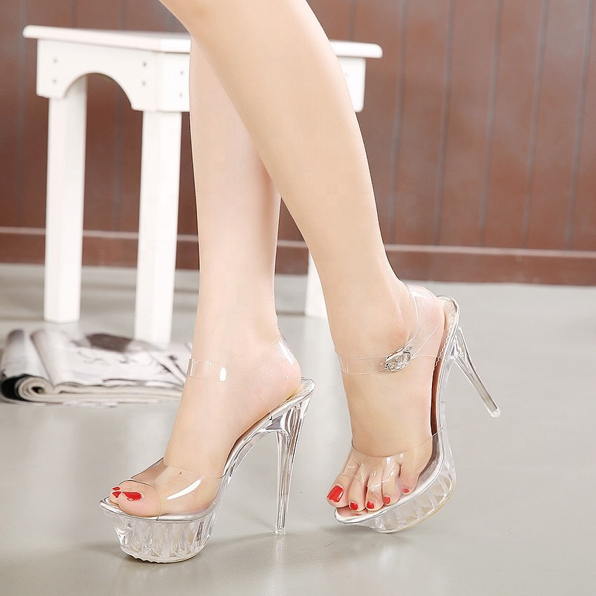 China Summer Transparent Neon Pvc Clear Shoes Women High Heels Sandals Sexy