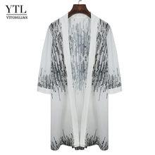 YTL женский кардиган с принтом, белый шифоновый женский кардиган в стиле бохо, летняя модная шаль H290(Китай)