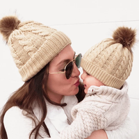 MY Miyar 2PCS winter warm Parent-Child hat mom and baby Crochet Ski Cap cable knit wool beanies with pom pom