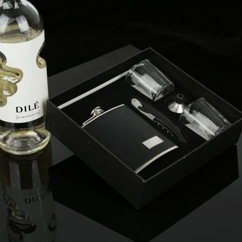 Stainless steel hip flask gift set (flask/ glass wine cup/bottle opener)