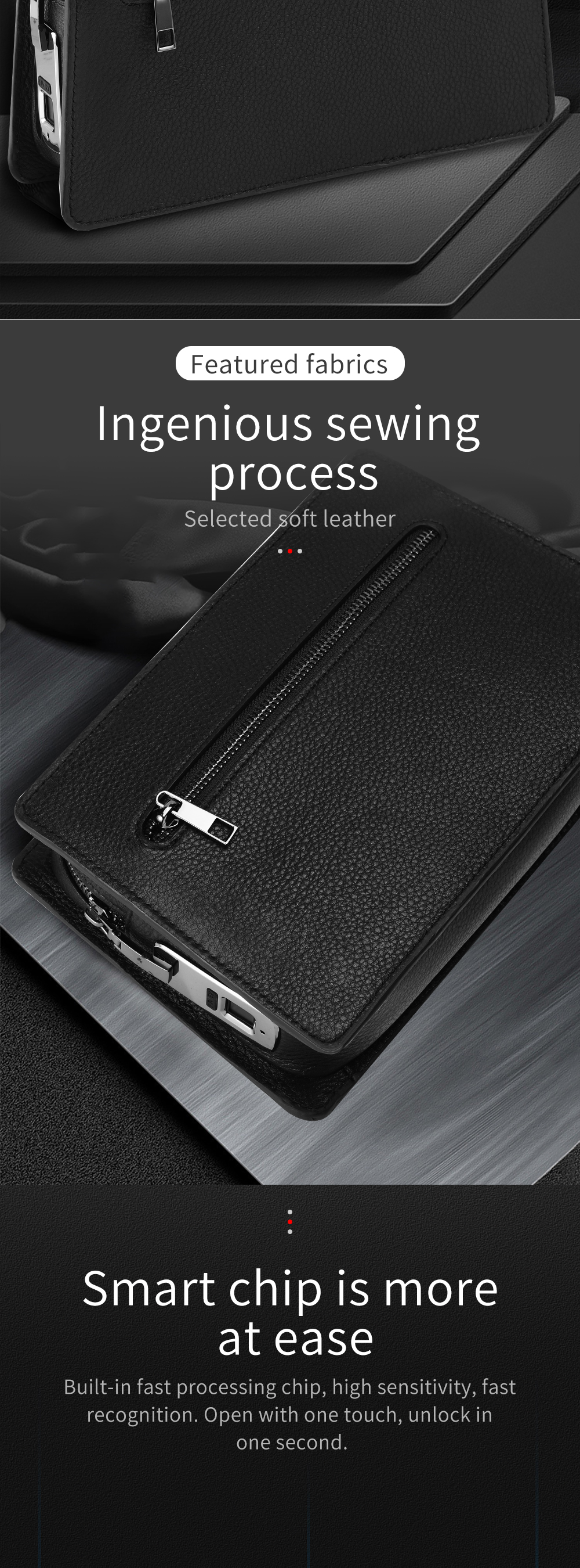 BUBM new fingerprint men genuine leather clutch  handbags